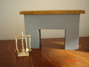 Beautiful Wooden Dollhouse Fireplace with Mantle and Accessories