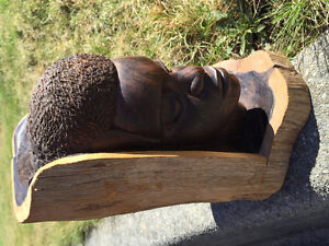 Ebony African male carving head