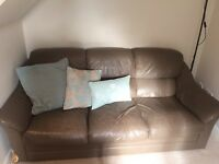 2 mink real leather 3 seater sofas -collection only