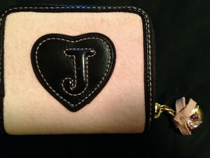 Juicy Couture Pink Velour & Brown Small Zip Around Wallet
