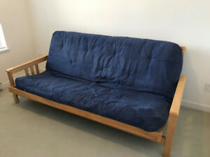 Double Size Wooden Futon Frame & Mattress For Sale