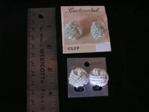 New Unused White & Clear Small Bead Clip-on Earrings