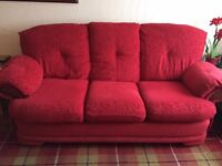 Red Suite - 2 & 3 seaters, foot stool and recliner