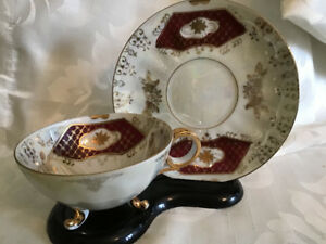 1950's Mother of Pearl 3 Legged Cup & Saucer