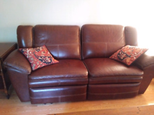 Leather Lay-z-boy sofa and chair