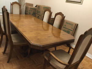 Dining table with six chairs and China cabinet & Serving cart.