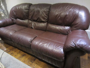 ELRAN 3 Pcs All Real Quality Leather Sofa set like new