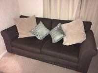 NEXT brown 2 seater sofa & armchair