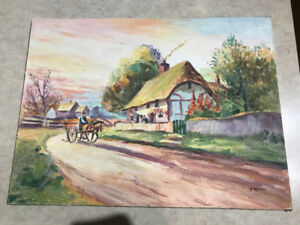 Signed Aubrey Ramus  Cottage and Horsedrawn cart Oil Painting