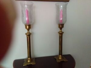 Brass candle holders with cracked glass effect shades