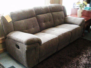 "FABRIC reclining sofa with center console, 87"" long, taupe micro"