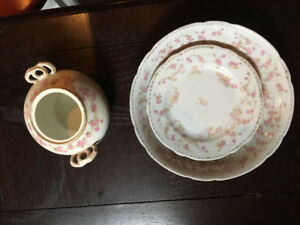 Limoge Bridal Rosy dishes, cups saucers, sugar, creamer for sale
