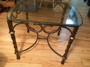 Glass and cast iron end tables