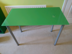 IKEA green glass desk and legs