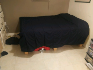 Homemade bed frame for double or queen mattress + storage space