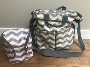 Skip Hop Diaper Bag and Insulated Double Bottle Bag