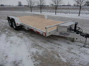 NEW 18' MILLROAD ALUMINUM FLAT DECK WITH BEAVERTAIL TRAILER