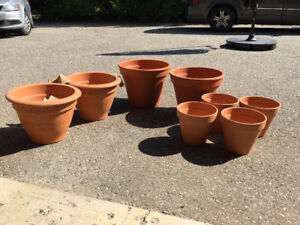 8 NEW Clay Flower Pots