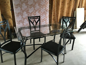 Glass table set with Bakers Rack