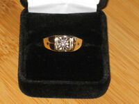 10k gold & diamond ring, size 10.5