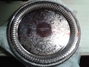 2   SILVER PLATED SERVING PLATTERS
