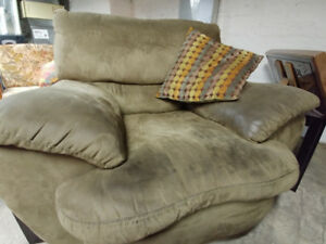 FREE: green microfibre loveseat, chair and ottoman