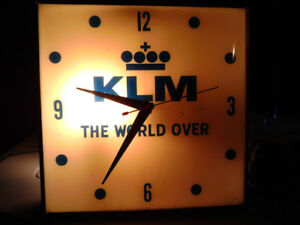"1950's Vintage KLM Airline 15"" Convex Wall Clock"