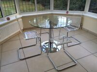 GLASS TABLE (JOHN LEWIS CIRCULAR)with 4 CHAIRS