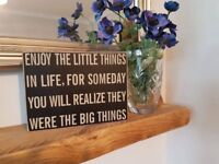 Wooden block sign with quote