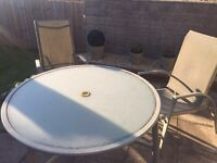 Patio garden table and chairs grey glass table and reclining chairs x2