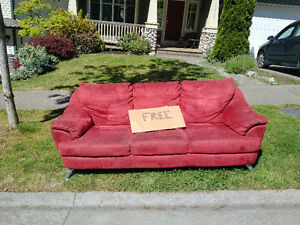 3 Seater Red Micro-fibre Sofa