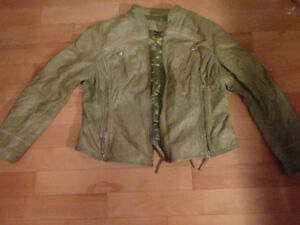 WOMEN'S XL LEATHER JACKET DOMINIQUE BOMBER COAT OLIVE GREEN