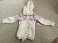 Children's woollen hooded top, brand new with tags size age 2-3