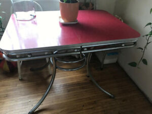 Retro Square Dining Table Red and Chrome