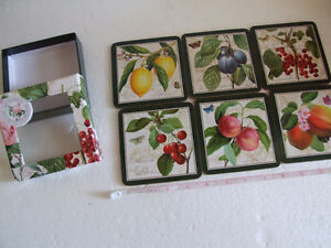 Brand new in box fruits theme cork backed set of 6 coasters London Ontario image 5