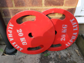 20kg Metal Olympic Weight Plates x2