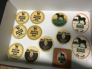 13 BLACK HORSE ALE BEER COASTERS - ONE VERY RARE