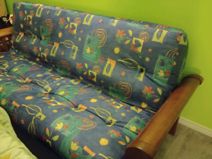 Futon and Wooden Frame (Sofa Bed or Couch)