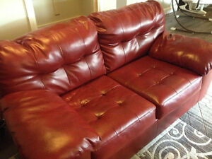 RED ASHLEY LOVE SEAT FOR SALE