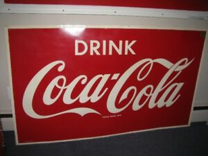 COCA COLA COKE 4 FOOT METAL SIGN  EMBOSSED   1965
