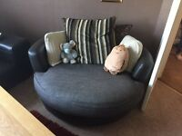 Large round Leather Cosy chair 2 person