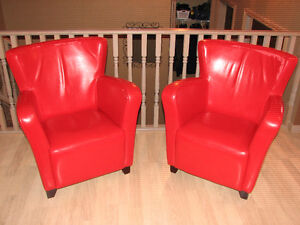 Red Bonded Leather Club Chairs