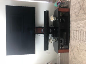 Media console with attached tv mount