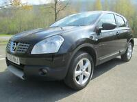 09/09 NISSAN QASHQAI 1.6 TEKNA 5DR HATCH IN MET BLACK WITH BLACK LEATHER