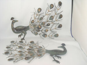 Vintage 1960's  Metal Peacock 2 Wall Hangings Green and Gold