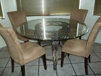 5piece diningset wrought iron glass table