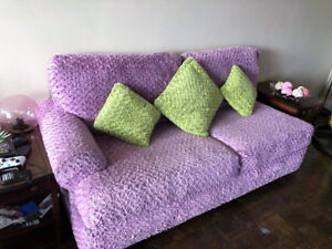 Sofa with handmade unique pink cover (undercover is gray)
