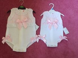 Designer Nini Spanish rompers bnwt 18 and 3. Months