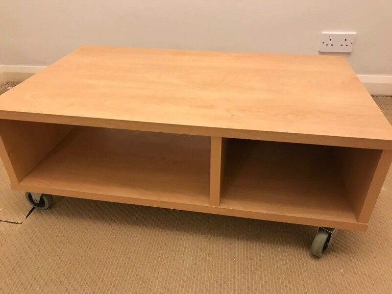 Furniture Wooden Tv Stand Portable On Wheels Very Good Condition