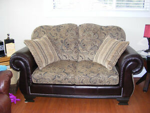 Excellent Quality Leather/Fabric Loveseat